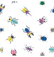 colorful bugs seamless pattern vector image vector image