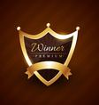 crown style badge design with winner text vector image vector image