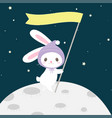 cute cartoon bunny on the moon hand drawn style vector image