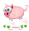 cute pig jump symbol of the year 2019 vector image vector image