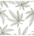 drawing seamless pattern with cannabis leaf vector image