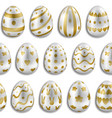 easter white eggs with gold decor seamless pattern vector image vector image
