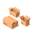empty opened cardboard boxes icon set vector image vector image