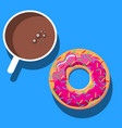 food poster advertise with coffee donuts vector image