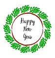 happy new year lettering greeting wreath vector image vector image
