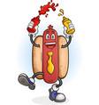 hot dog dancing cartoon character vector image vector image