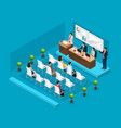 isometric business conference template vector image vector image