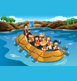 kids rafting in a river vector image vector image