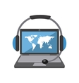 Laptop map headphone icon Delivery and Shipping vector image vector image