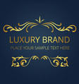 luxury brand gold text template vine design vector image vector image