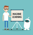 machine learning conceptual young character vector image vector image