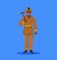 male miner holding pick axe happy man in orange vector image vector image