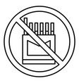 no cigarette pack icon outline style vector image