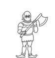outline of executor holding axe in hands is vector image