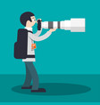 photographer with camera and big telephoto lens vector image