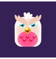 Pink Owl Chick Square Icon vector image vector image