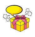 pop art gift box cartoon vector image