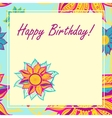 postcard with flowers Happy Birthday vector image vector image