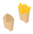 potato french fries in a paper cup isolated on a vector image