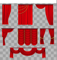 realistic red velvet stage curtains scarlet vector image vector image