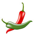 red and green hot chili peppers on white vector image