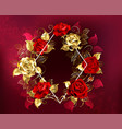 rhombus with roses vector image vector image