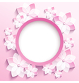 Round frame with 3d pink sakura greeting card vector image