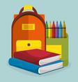 school supplies education icons vector image