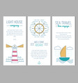 set cards with nautical elements in thin line vector image