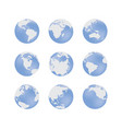 set earth globe blue signs in various angles vector image vector image