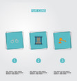 set of criminal icons flat style symbols with vector image vector image