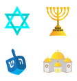 set of jewish objects vector image vector image