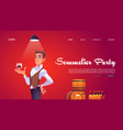 sommelier party website with man holding wineglass vector image vector image