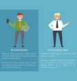 successful businessman set of posters on blue vector image vector image