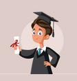 teenage boy graduating school cartoon vector image