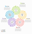thin line circle infographic template with gears 5 vector image vector image