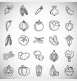 vegetables line icons set on white background for vector image