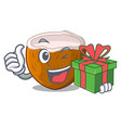 with gift cartoon beverage coconuts on the beach vector image vector image