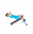 woman swinging a press on a training apparatus vector image vector image