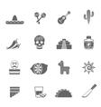 Mexican culture symbols black icons set vector image