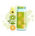 avocado orange and kiwi smoothie non-alcoholic vector image vector image