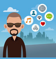 beard man with social media icons vector image