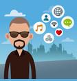 beard man with social media icons vector image vector image