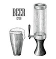 beer mug and tower vintage hand draw vector image vector image