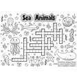 black and white crossword with sea animals for vector image