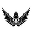 black spartan helmet with wings vector image vector image