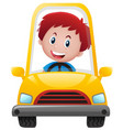boy driving on yellow car vector image