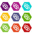 brass knuckles icon set color hexahedron vector image vector image