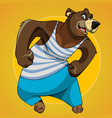 cartoon character big bear posing in sportswear vector image vector image