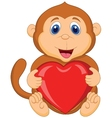 Cartoon monkey holding red heart vector image vector image